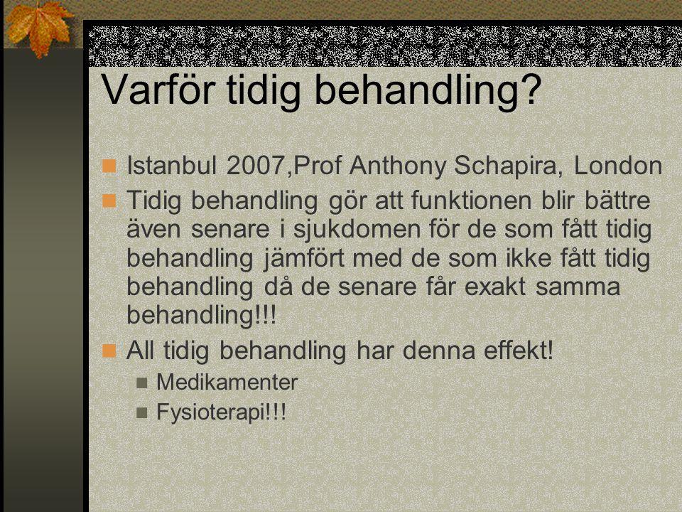 Varför tidig behandling?  Istanbul 2007,Prof Anthony Schapira, London  Tidig behandling gör att funktionen blir bättre även senare i sjukdomen för d