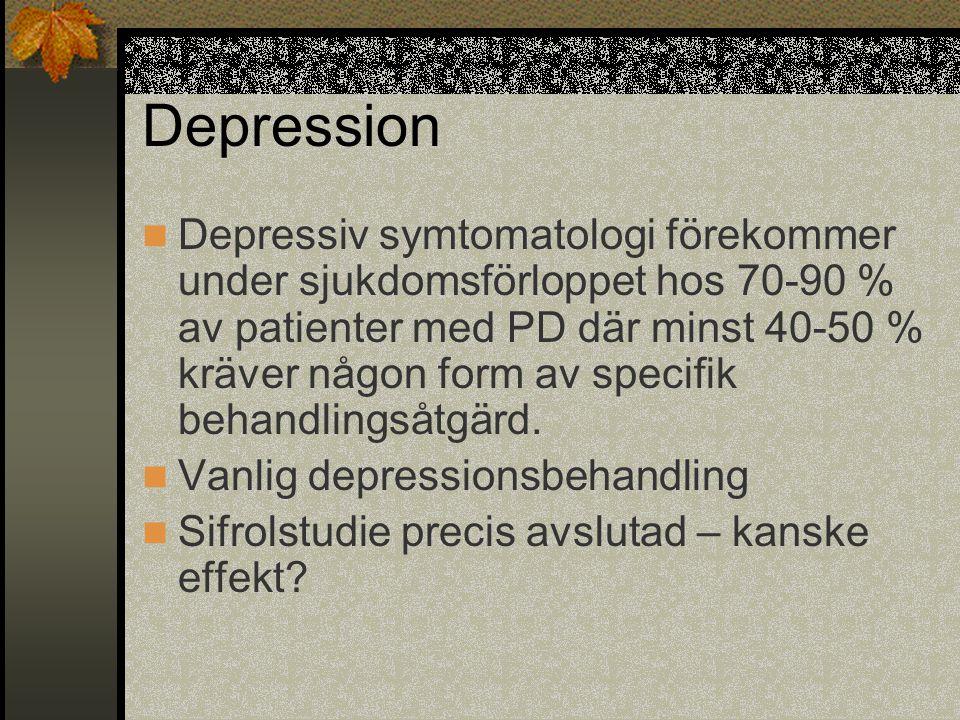 Depression  Depressiv symtomatologi förekommer under sjukdomsförloppet hos 70-90 % av patienter med PD där minst 40-50 % kräver någon form av specifi