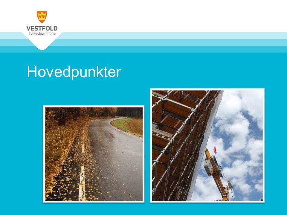 Økonomiplanen i et lengre tidsperspektiv •Realiserer ambisiøst investeringsprogram –Thor Heyerdahl vgs i 2009 kr 1,1 mrd –Færder vgs i 2014 kr 0,7 mrd –Lagt til rette for en ny videregående i Horten 0,7 mrd •Redusert vedlikeholdsetterslep på fylkesveger •Investerer etter forvaltningsreformen og frem til 2018 for 0,9 mrd •Gjennomført kostnadsreduksjoner på over 80 mill.