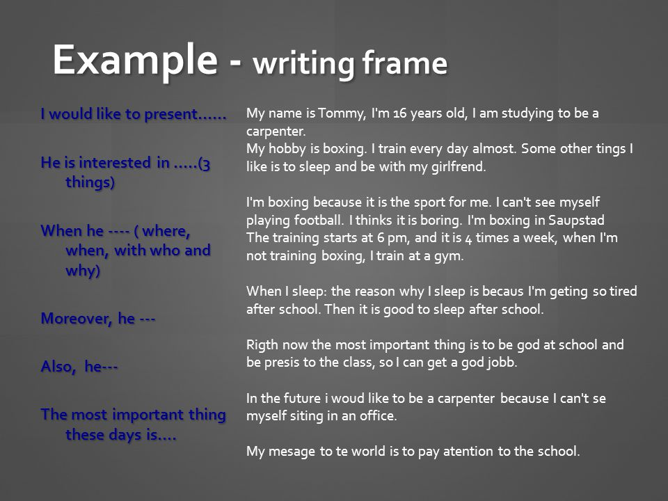 Example - writing frame I would like to present…… He is interested in …..(3 things) When he ---- ( where, when, with who and why) Moreover, he --- Also, he--- The most important thing these days is….