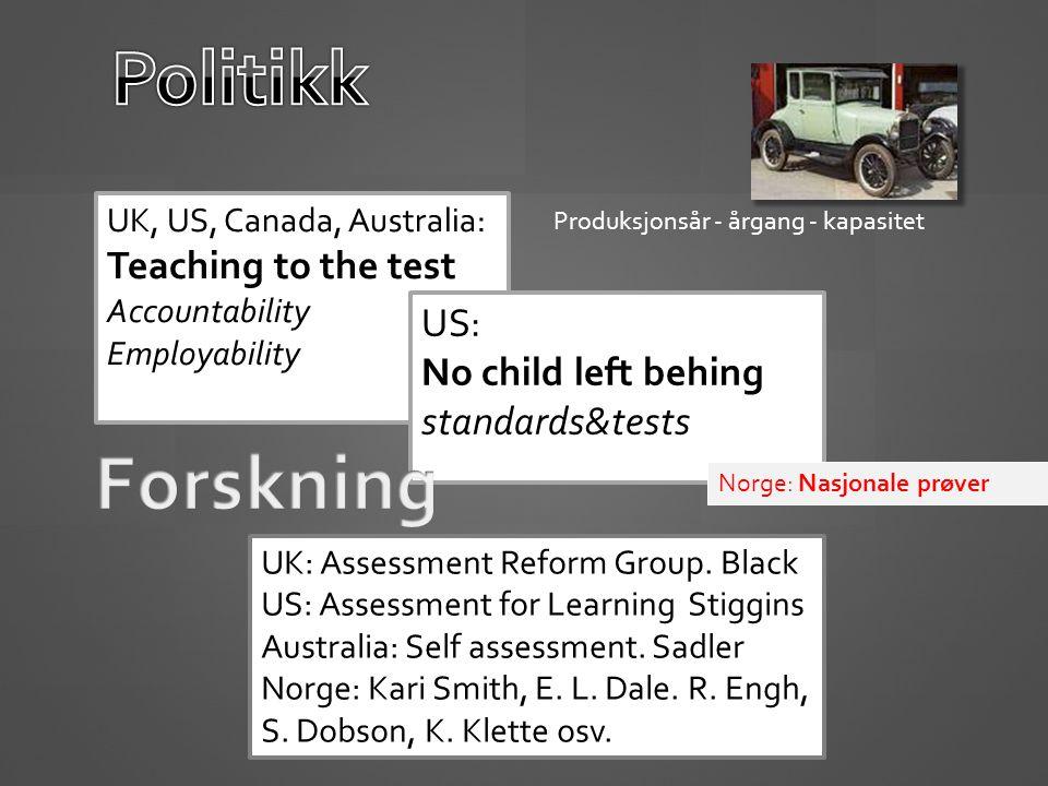 UK, US, Canada, Australia: Teaching to the test Accountability Employability US: No child left behing standards&tests UK: Assessment Reform Group.