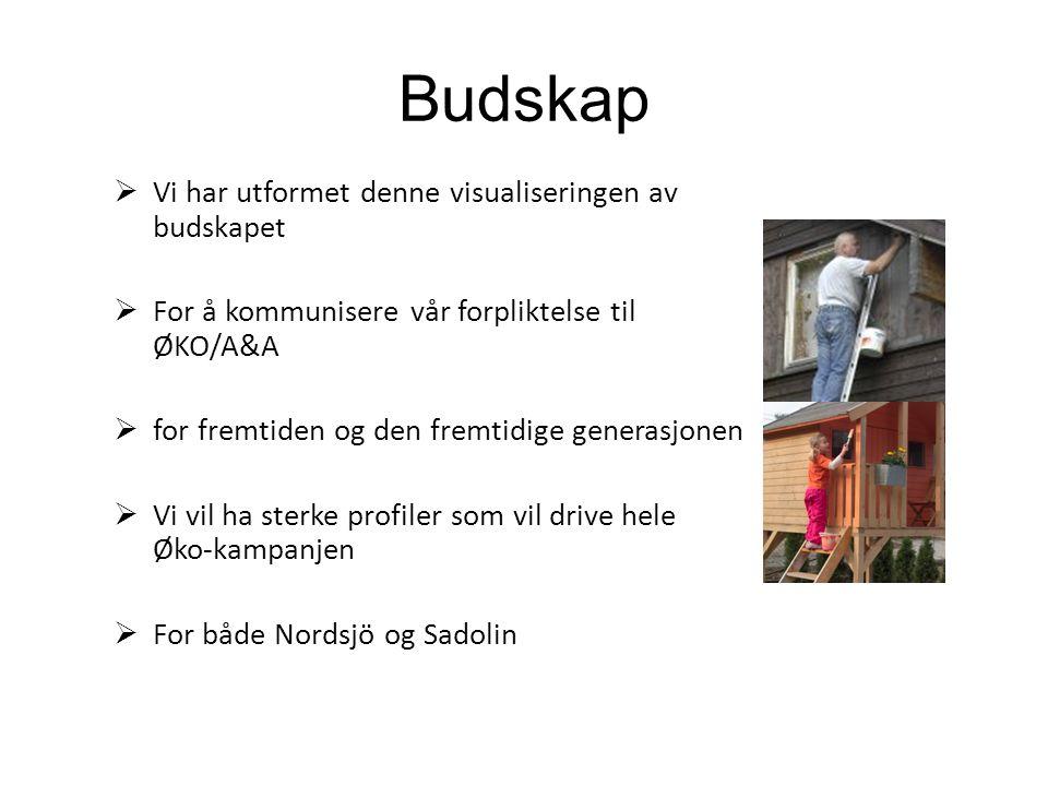 Budskap  Vi har utformet denne visualiseringen av budskapet  For å kommunisere vår forpliktelse til ØKO/A&A  for fremtiden og den fremtidige generasjonen  Vi vil ha sterke profiler som vil drive hele Øko-kampanjen  For både Nordsjö og Sadolin
