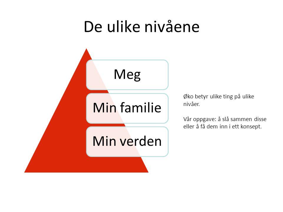 De ulike nivåene MegMin familieMin verden Øko betyr ulike ting på ulike nivåer.