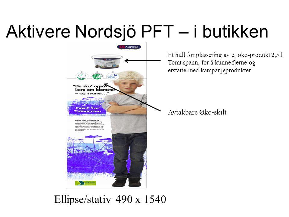 Aktivere Nordsjö PFT – i butikken Ellipse/stativ 490 x 1540 Et hull for plassering av et øko-produkt 2,5 l Tomt spann, for å kunne fjerne og erstatte med kampanjeprodukter Avtakbare Øko-skilt