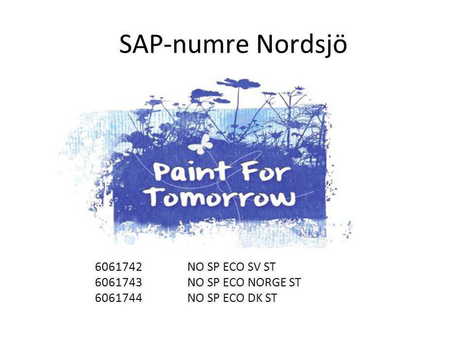 SAP-numre Nordsjö 6061742 NO SP ECO SV ST 6061743 NO SP ECO NORGE ST 6061744 NO SP ECO DK ST