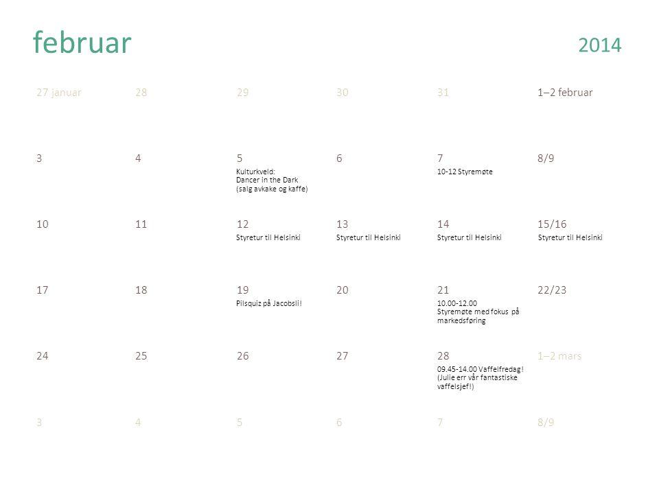 27 januar282930311–2 februar 345678/9 101112131415/16 171819202122/23 24252627281–2 mars februar 345678/9 2014 Kulturkveld: Dancer in the Dark (salg avkake og kaffe) 10-12 Styremøte Styretur til Helsinki Pilsquiz på Jacobsli!10.00-12.00 Styremøte med fokus på markedsføring 09.45-14.00 Vaffelfredag.