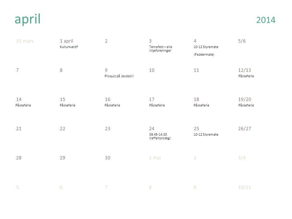 31 mars1 april2345/6 789101112/13 141516171819/20 212223242526/27 2829301 mai23/4 5678910/11 april 2014 Kulturkveld Temafest – alle linjeforeninger 10-12 Styremøte (Faddermøte) Pilsquiz på Jacobsli!Påskeferie 09.45-14.00 Vaffeltorsdag.