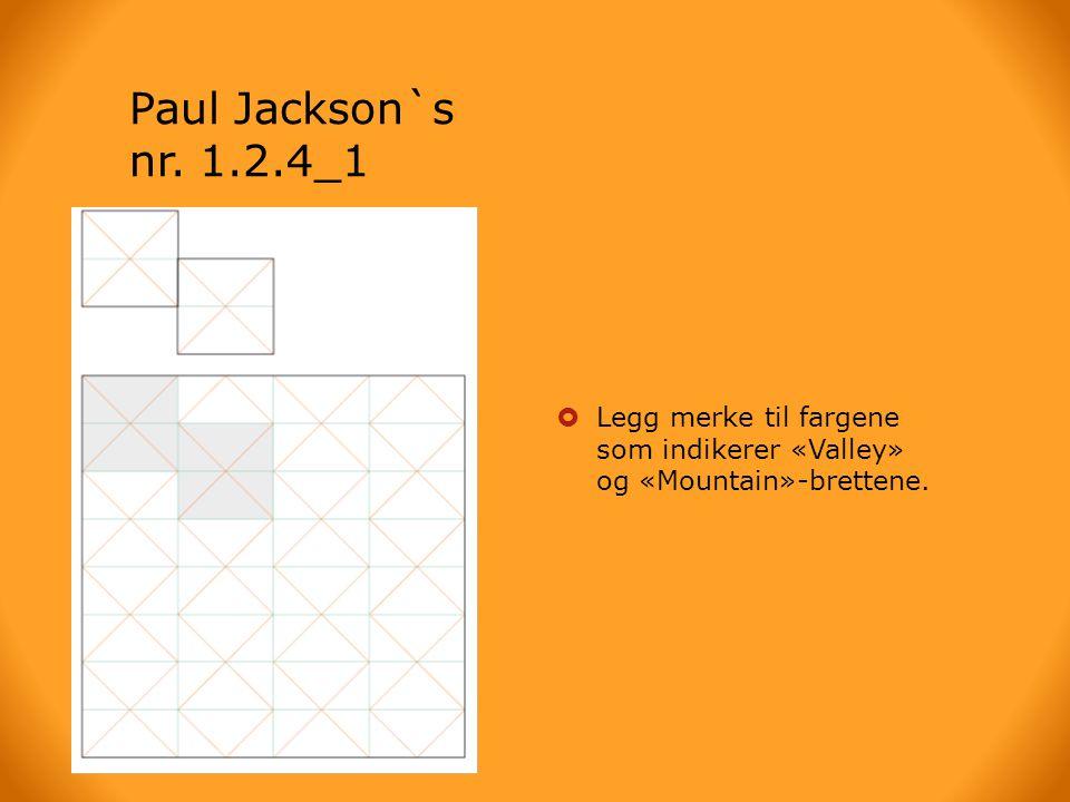 Paul Jackson`s nr. 1.2.4_1  Brettearket  Legg merke til fargene som indikerer «Valley» og «Mountain»-brettene.