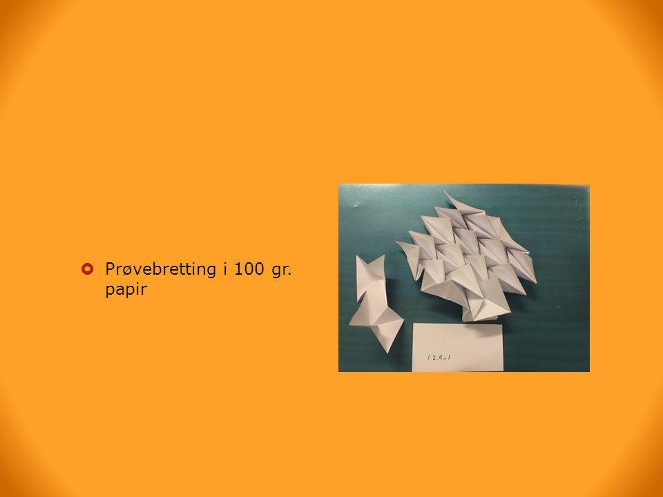  Prøvebretting i 100 gr. papir
