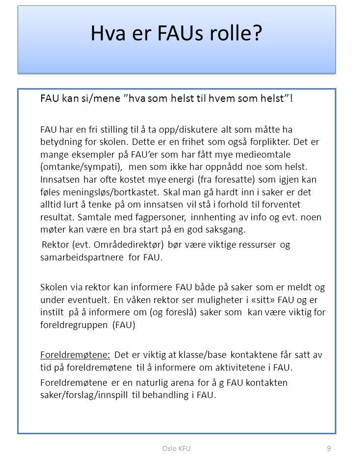 """Hva er FAUs rolle? FAU kan si/mene """"hva som helst til hvem som helst""""! FAU har en fri stilling til å ta opp/diskutere alt som måtte ha betydning for s"""