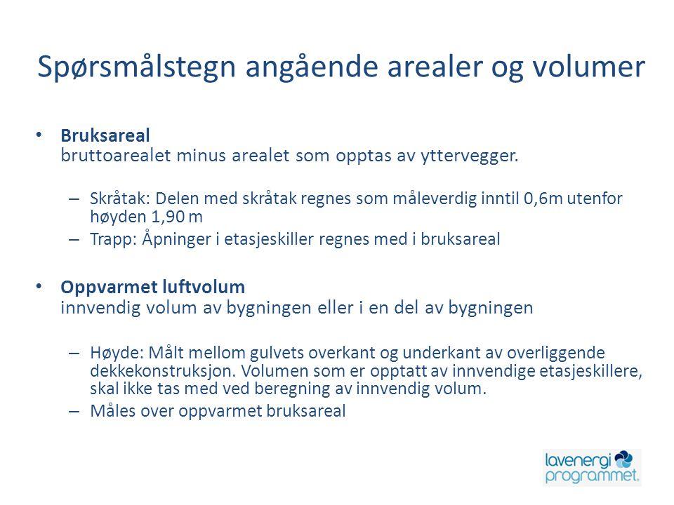 Spørsmålstegn angående arealer og volumer • Bruksareal bruttoarealet minus arealet som opptas av yttervegger. – Skråtak: Delen med skråtak regnes som