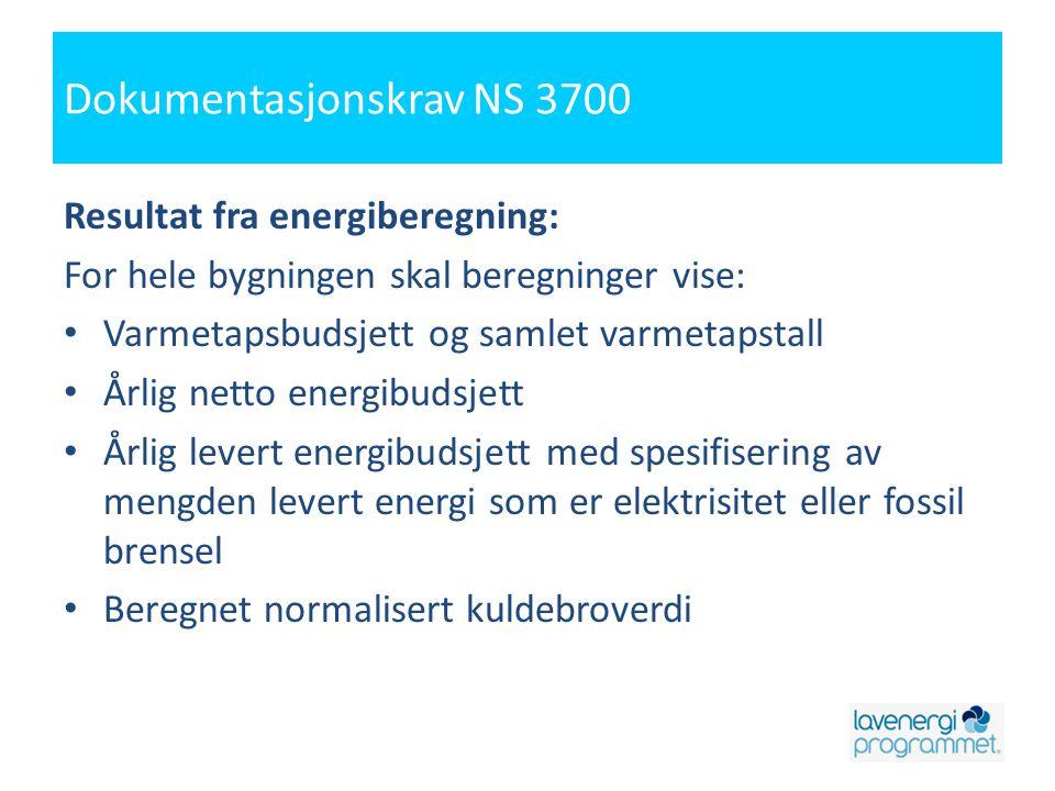 Dokumentasjonskrav NS 3700 Resultat fra energiberegning: For hele bygningen skal beregninger vise: • Varmetapsbudsjett og samlet varmetapstall • Årlig