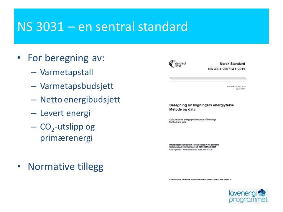 NS 3031 – en sentral standard • For beregning av: – Varmetapstall – Varmetapsbudsjett – Netto energibudsjett – Levert energi – CO 2 -utslipp og primær