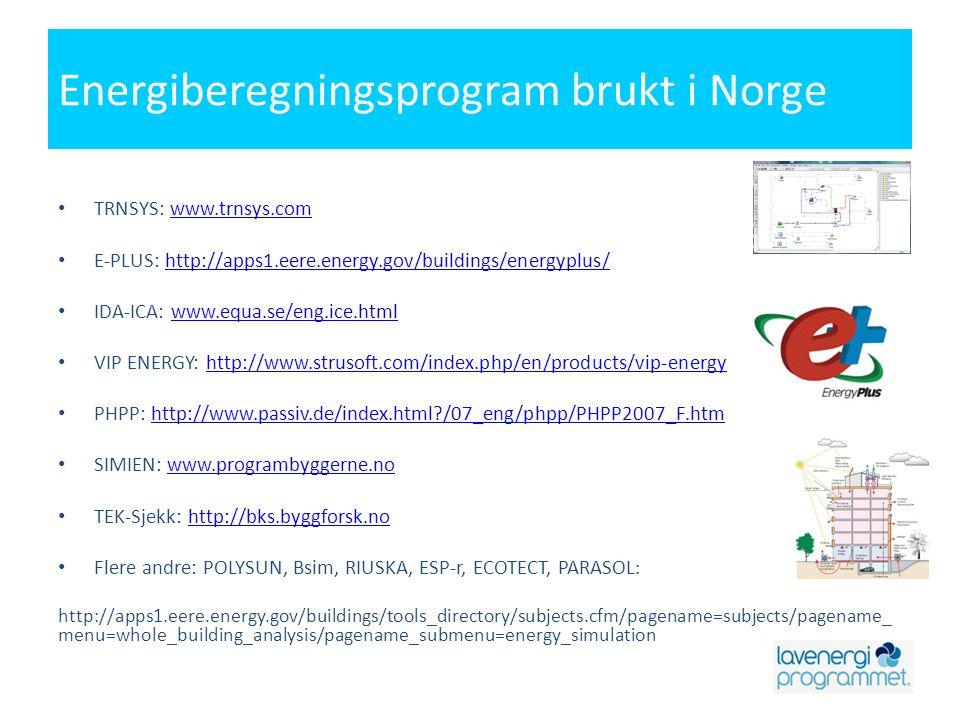 Energiberegningsprogram brukt i Norge • TRNSYS: www.trnsys.comwww.trnsys.com • E-PLUS: http://apps1.eere.energy.gov/buildings/energyplus/http://apps1.