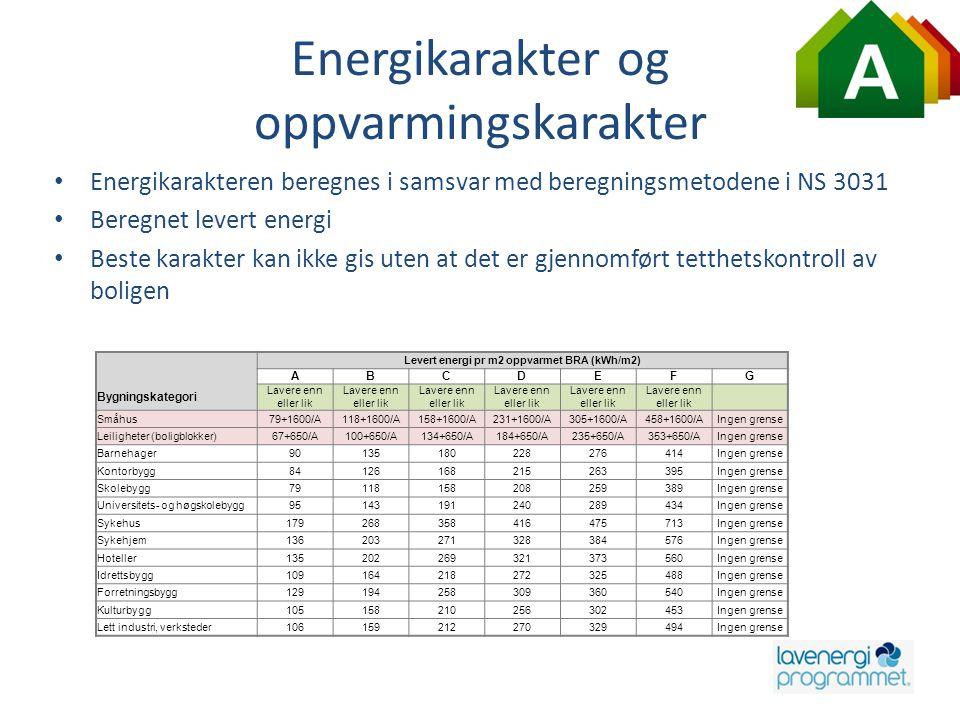 Energikarakter og oppvarmingskarakter • Energikarakteren beregnes i samsvar med beregningsmetodene i NS 3031 • Beregnet levert energi • Beste karakter