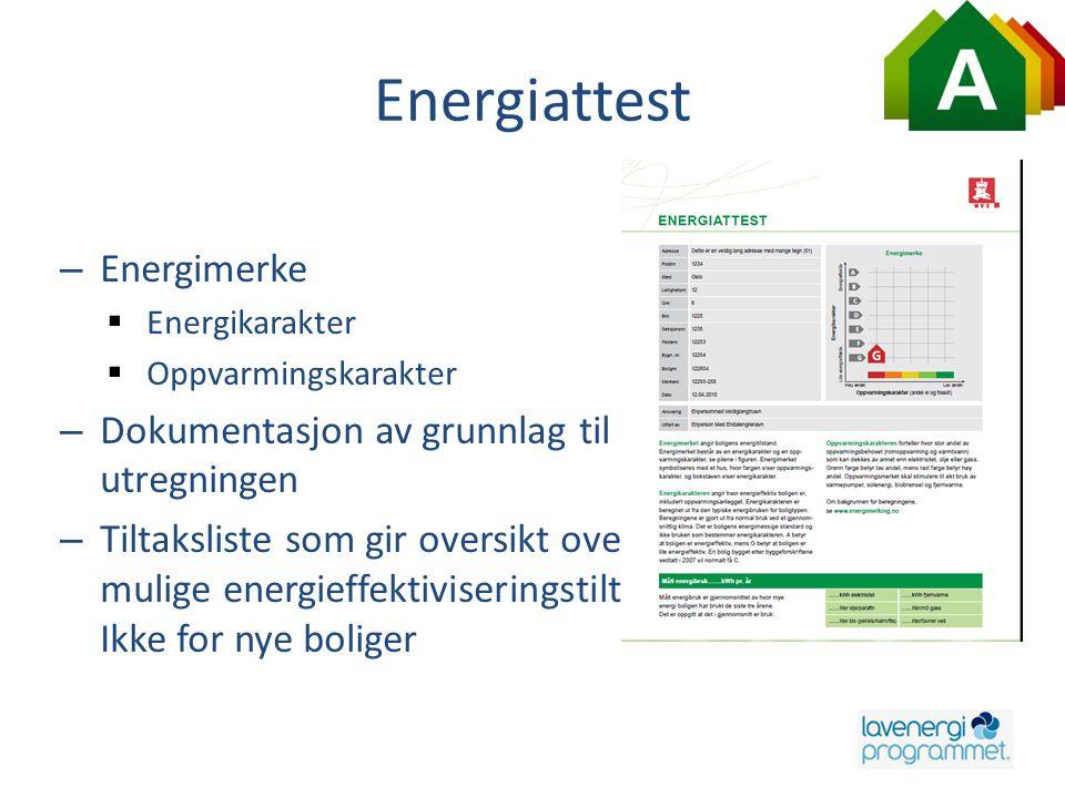 Energiattest – Energimerke  Energikarakter  Oppvarmingskarakter – Dokumentasjon av grunnlag til utregningen – Tiltaksliste som gir oversikt over mul