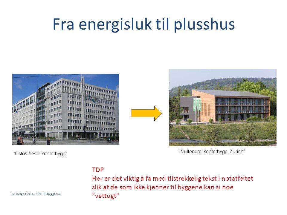 """Fra energisluk til plusshus Tor Helge Dokka, SINTEF Byggforsk """"Oslos beste kontorbygg"""" """"Nullenergi kontorbygg, Zurich"""" TDP Her er det viktig å få med"""