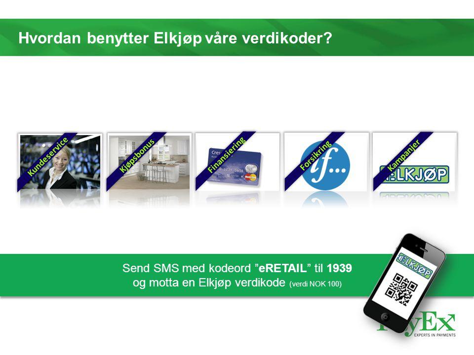 """Hvordan benytter Elkjøp våre verdikoder? Kundeservice Kjøpsbonus Finansiering Forsikring Kampanjer Send SMS med kodeord """"eRETAIL"""" til 1939 og motta en"""