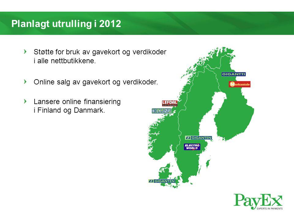 Planlagt utrulling i 2012 Støtte for bruk av gavekort og verdikoder i alle nettbutikkene. Online salg av gavekort og verdikoder. Lansere online finans