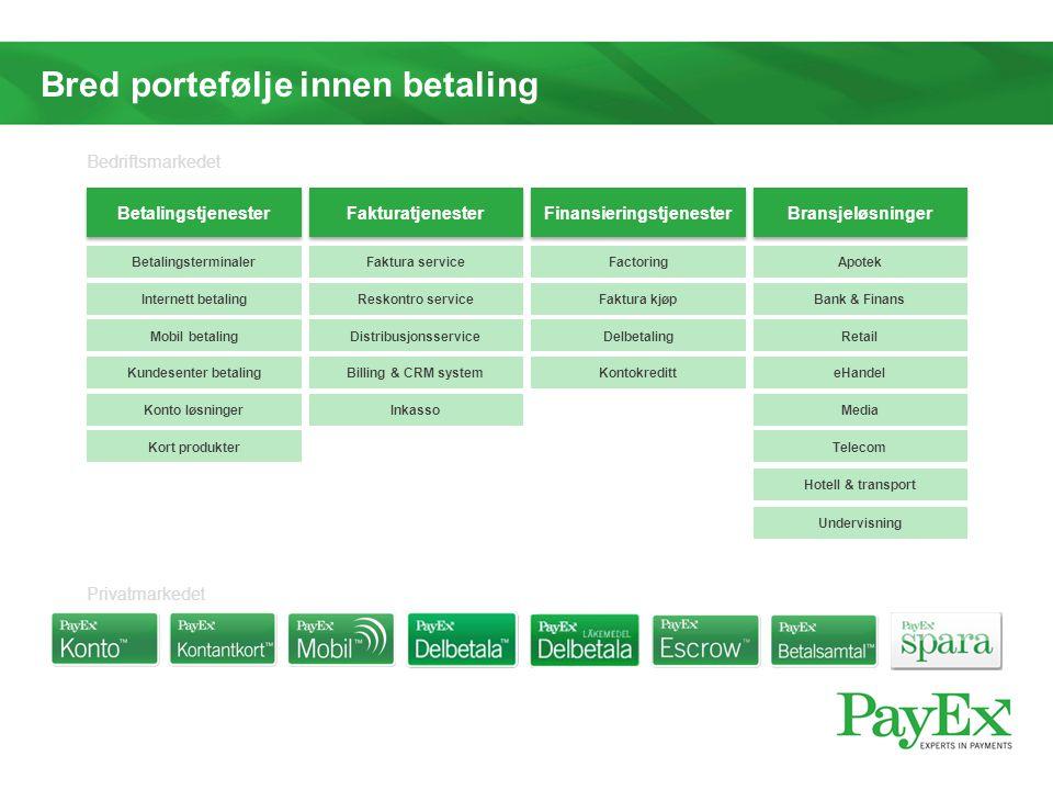 Bred portefølje innen betaling Betalingsterminaler Betalingstjenester Fakturatjenester Finansieringstjenester Bransjeløsninger Internett betaling Mobi