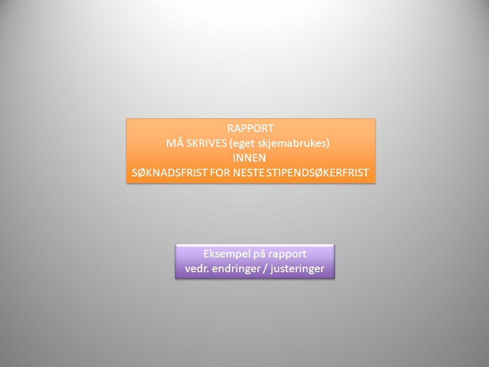 Eksempel på rapport vedr. endringer / justeringer Eksempel på rapport vedr. endringer / justeringer RAPPORT MÅ SKRIVES (eget skjemabrukes) INNEN SØKNA