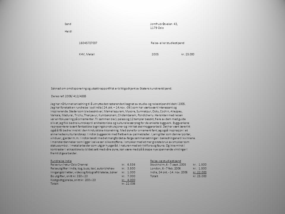 SandJomfrubråtveien 43, 1179 Oslo Heidi 16045727037 Reise- eller studiestipend KHV, Metall 2005 kr. 25.000 Søknad om omdisponering og utsatt rapportfr
