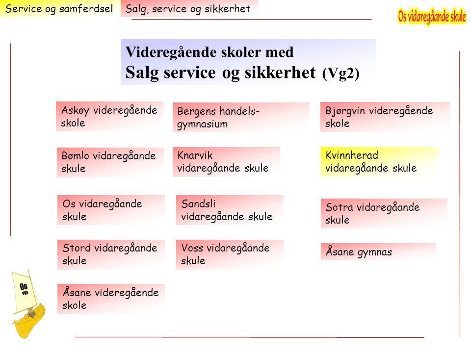 Service og samferdsel Videregående skoler med Salg service og sikkerhet (Vg2) Salg, service og sikkerhet Kvinnherad vidaregåande skule Askøy videregåe