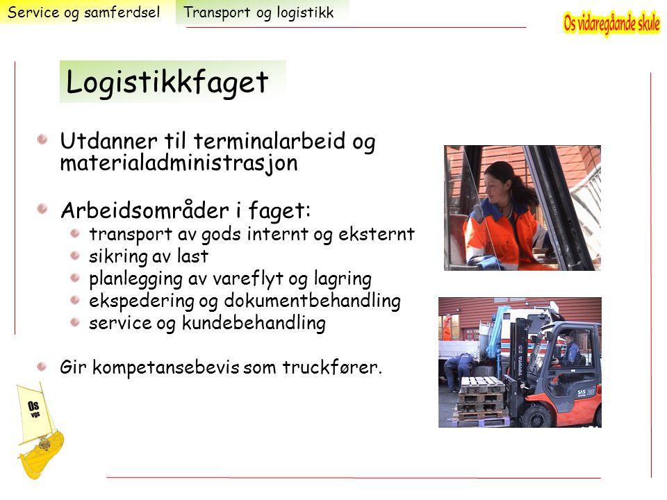 Utdanner til terminalarbeid og materialadministrasjon Arbeidsområder i faget: transport av gods internt og eksternt sikring av last planlegging av var