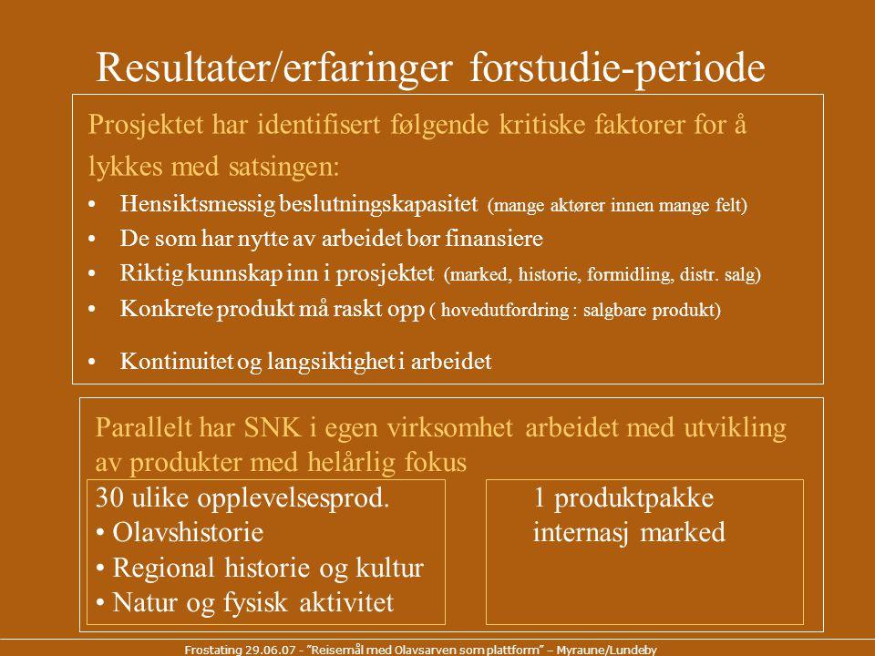 Frostating 29.06.07 - Reisemål med Olavsarven som plattform – Myraune/Lundeby Prosjekt som virker i samme retning •Pilegrimsleden – Olavsvegene i Norge - grunnleggende infrastruktur vei og www.