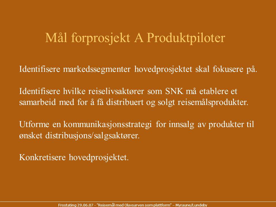 Frostating 29.06.07 - Reisemål med Olavsarven som plattform – Myraune/Lundeby Kostnader Prosjektledelse21.000 Eksterne konsulenter70.000 Reise/møtekostnader 9.000 Totalt100.000 Finansiering Næringsaktører30.000 SNK egeninnsats20.000 Innovasjon N50.000 Totalt100.000 Budsjett Forprosjekt A Produktpiloter