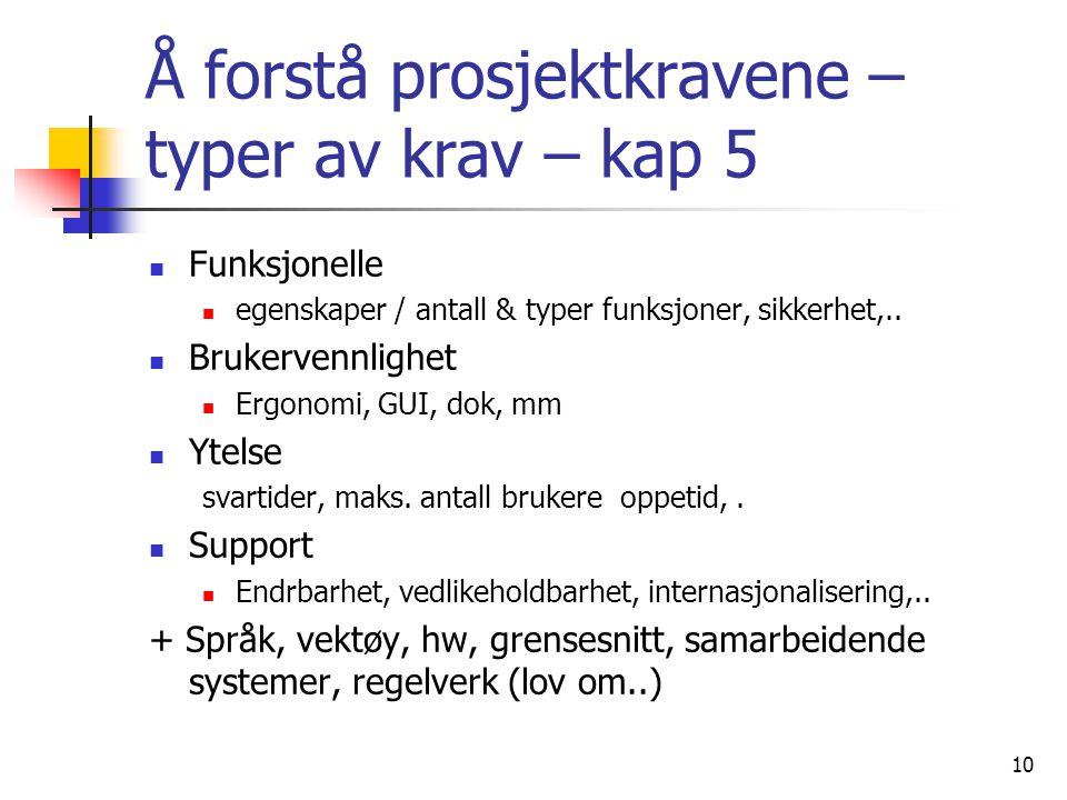 10 Å forstå prosjektkravene – typer av krav – kap 5  Funksjonelle  egenskaper / antall & typer funksjoner, sikkerhet,..