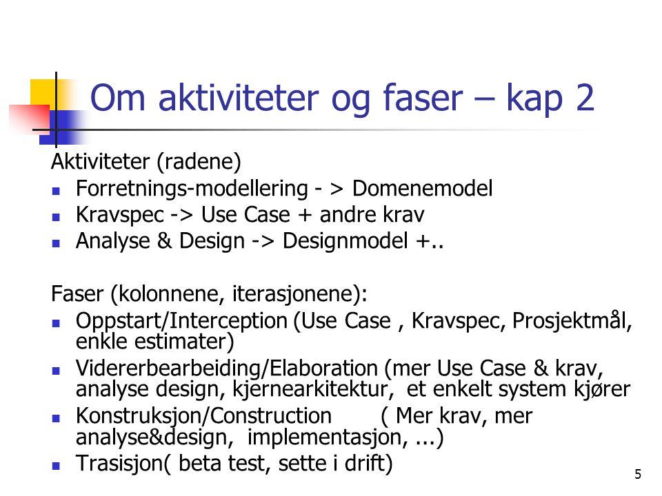 5 Om aktiviteter og faser – kap 2 Aktiviteter (radene)  Forretnings-modellering - > Domenemodel  Kravspec -> Use Case + andre krav  Analyse & Design -> Designmodel +..