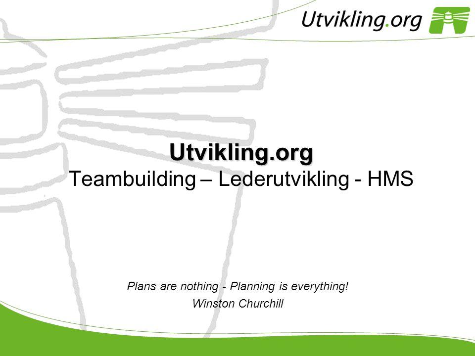 Utvikling.org Utvikling.org Teambuilding – Lederutvikling - HMS Plans are nothing - Planning is everything! Winston Churchill
