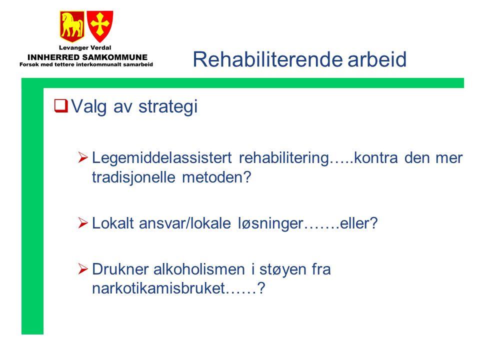 Rehabiliterende arbeid  Valg av strategi  Legemiddelassistert rehabilitering…..kontra den mer tradisjonelle metoden.