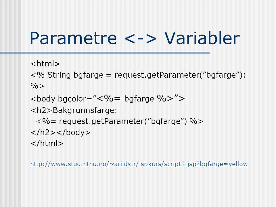 "Parametre Variabler <% String bgfarge = request.getParameter(""bgfarge""); %> ""> Bakgrunnsfarge: http://www.stud.ntnu.no/~arildstr/jspkurs/script2.jsp?b"