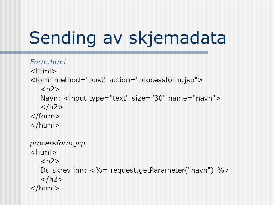 Sending av skjemadata Form.html Navn: processform.jsp Du skrev inn: