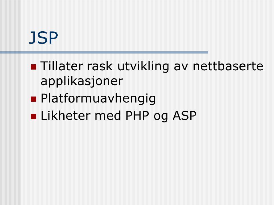 JSP  Tillater rask utvikling av nettbaserte applikasjoner  Platformuavhengig  Likheter med PHP og ASP