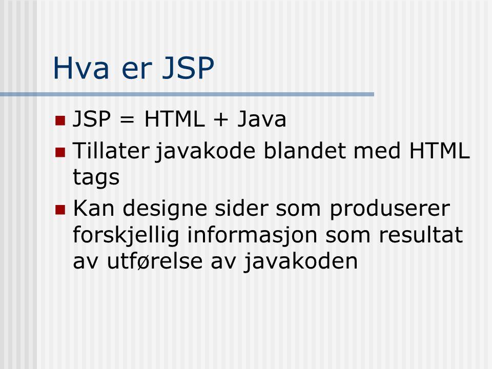 Hva er JSP  JSP = HTML + Java  Tillater javakode blandet med HTML tags  Kan designe sider som produserer forskjellig informasjon som resultat av ut