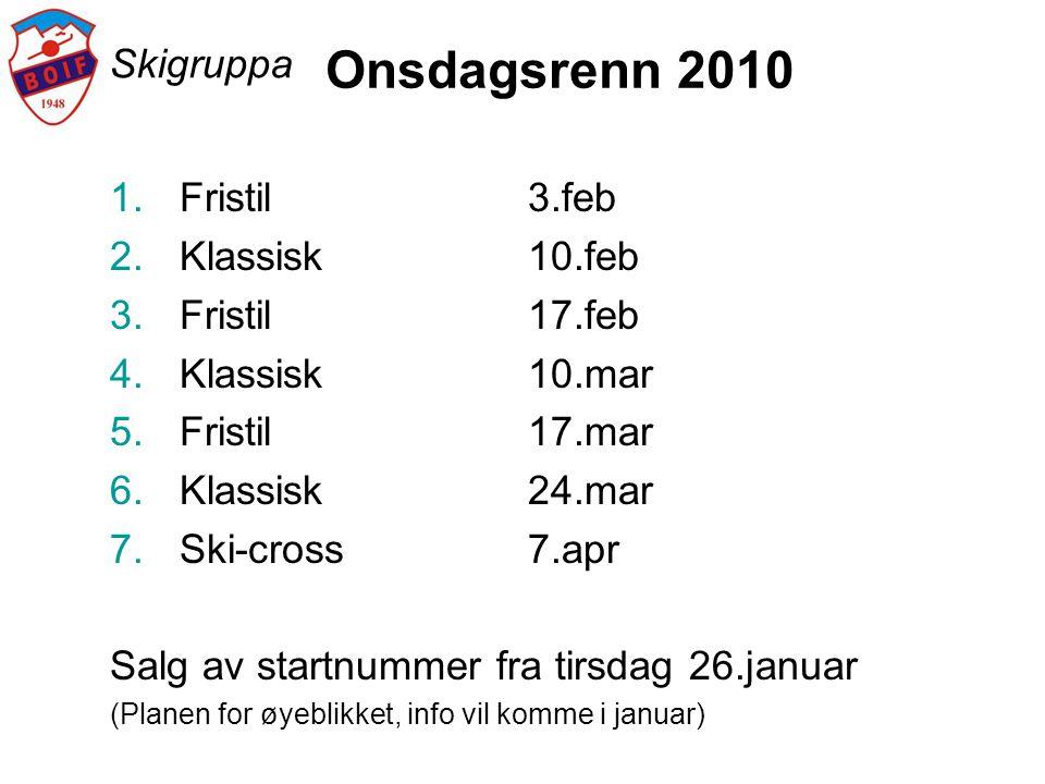 Skigruppa Onsdagsrenn 2010 1.Fristil3.feb 2.Klassisk10.feb 3.Fristil17.feb 4.Klassisk10.mar 5.Fristil17.mar 6.Klassisk24.mar 7.Ski-cross7.apr Salg av