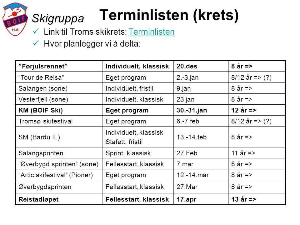 """Skigruppa Terminlisten (krets)  Link til Troms skikrets: TerminlistenTerminlisten  Hvor planlegger vi å delta: """"Førjulsrennet""""Individuelt, klassisk2"""