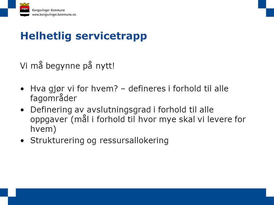 Helhetlig servicetrapp Vi må begynne på nytt! •Hva gjør vi for hvem? – defineres i forhold til alle fagområder •Definering av avslutningsgrad i forhol
