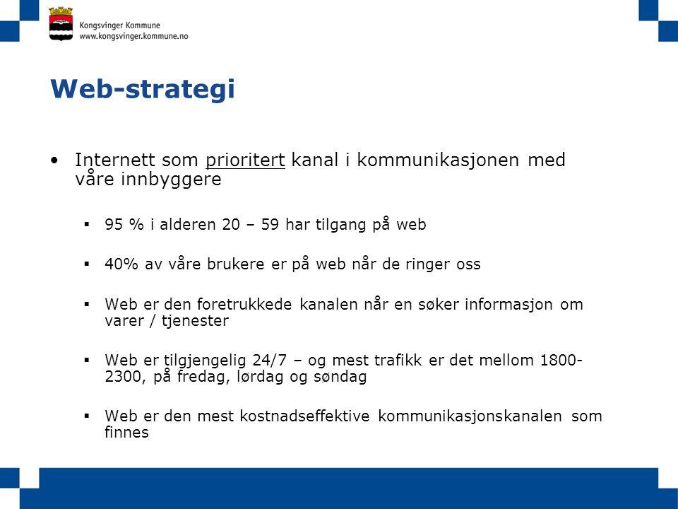 Web-strategi •Internett som prioritert kanal i kommunikasjonen med våre innbyggere  95 % i alderen 20 – 59 har tilgang på web  40% av våre brukere e
