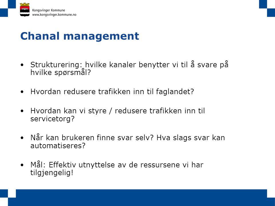 Chanal management •Strukturering: hvilke kanaler benytter vi til å svare på hvilke spørsmål? •Hvordan redusere trafikken inn til faglandet? •Hvordan k