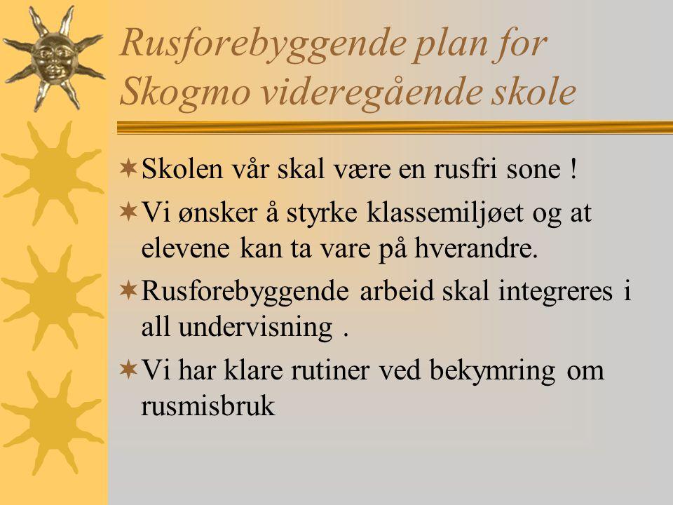 Rusforebyggende plan for Skogmo videregående skole SSkolen vår skal være en rusfri sone ! VVi ønsker å styrke klassemiljøet og at elevene kan ta v