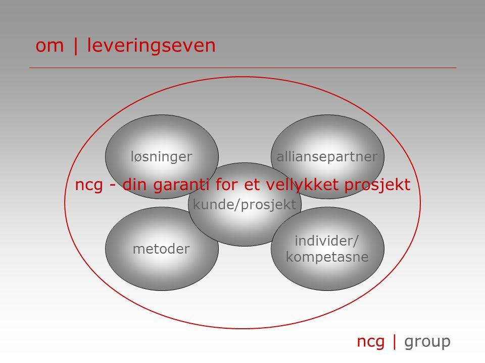 ncg | group metoder alliansepartner om | leveringseven kunde/prosjekt løsninger individer/ kompetasne ncg - din garanti for et vellykket prosjekt