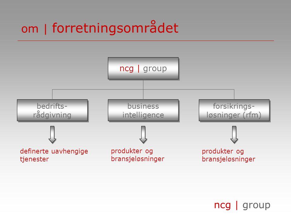 ncg | group om | visjonen ncg | group skal være et innovativt og ledende selskap innenfor business intelligence og forsikringsløsninger på det skandinaviske markedet