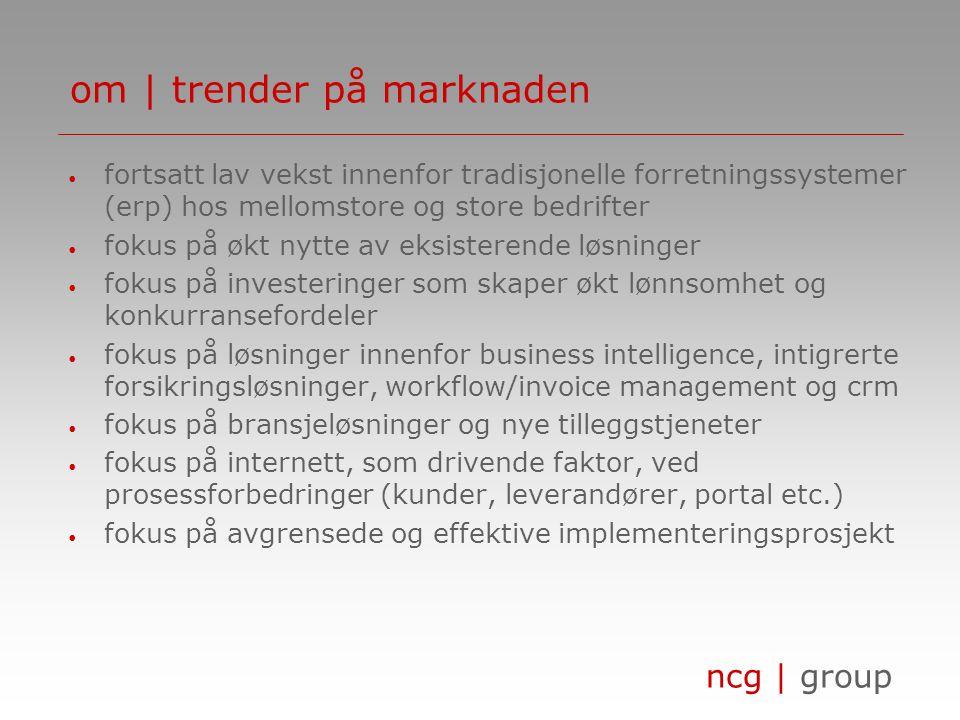ncg | group om | strategien ncg | group skal levere løsninger, som komplement til partneres tilbud mot spesifike bransjer, med mål om å støtte og utvikle kundenes lønnsomhet ncg | group produkter/løsninger partneres bransjeløsninger marked (geografi, bransje, kundesegment etc.) strategiske leverandører nøkkelkunder sertifiserte partnere feedback konkurrenter