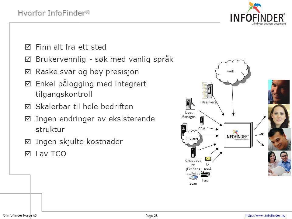 http://www.infofinder.no Page 28 © InfoFinder Norge AS Hvorfor InfoFinder ®  Finn alt fra ett sted  Brukervennlig - søk med vanlig språk  Raske sva