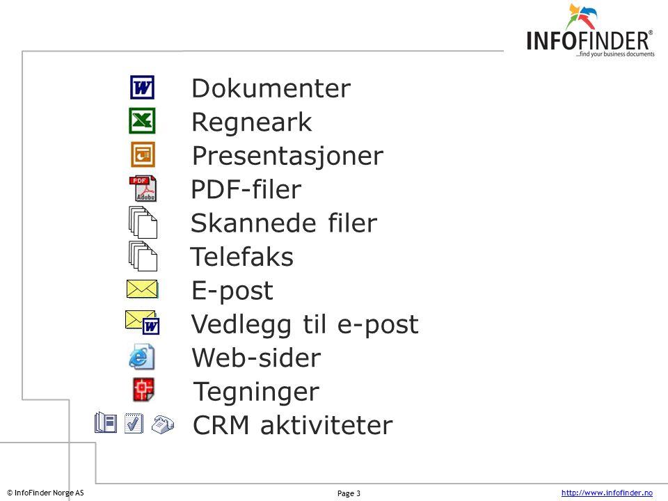 http://www.infofinder.no Page 4 © InfoFinder Norge AS Dokumenter Regneark Presentasjoner PDF-filer Telefaks E-post Web-sider Tegninger Skannede filer Vedlegg til e-post Hvor ligger dokumentet du leter etter .
