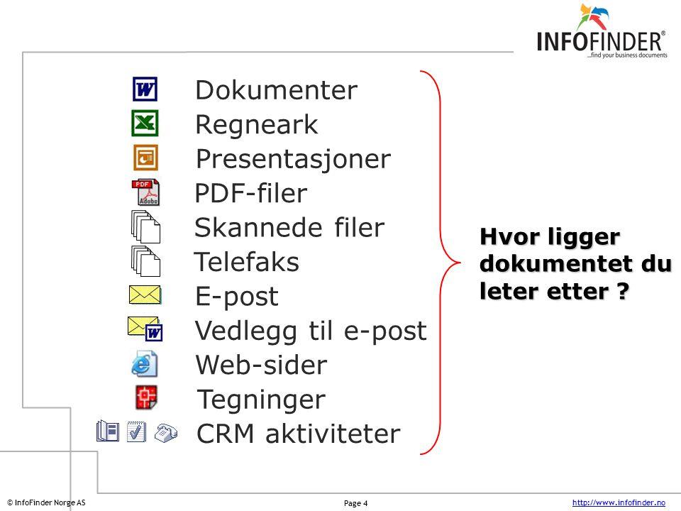 http://www.infofinder.no Page 4 © InfoFinder Norge AS Dokumenter Regneark Presentasjoner PDF-filer Telefaks E-post Web-sider Tegninger Skannede filer